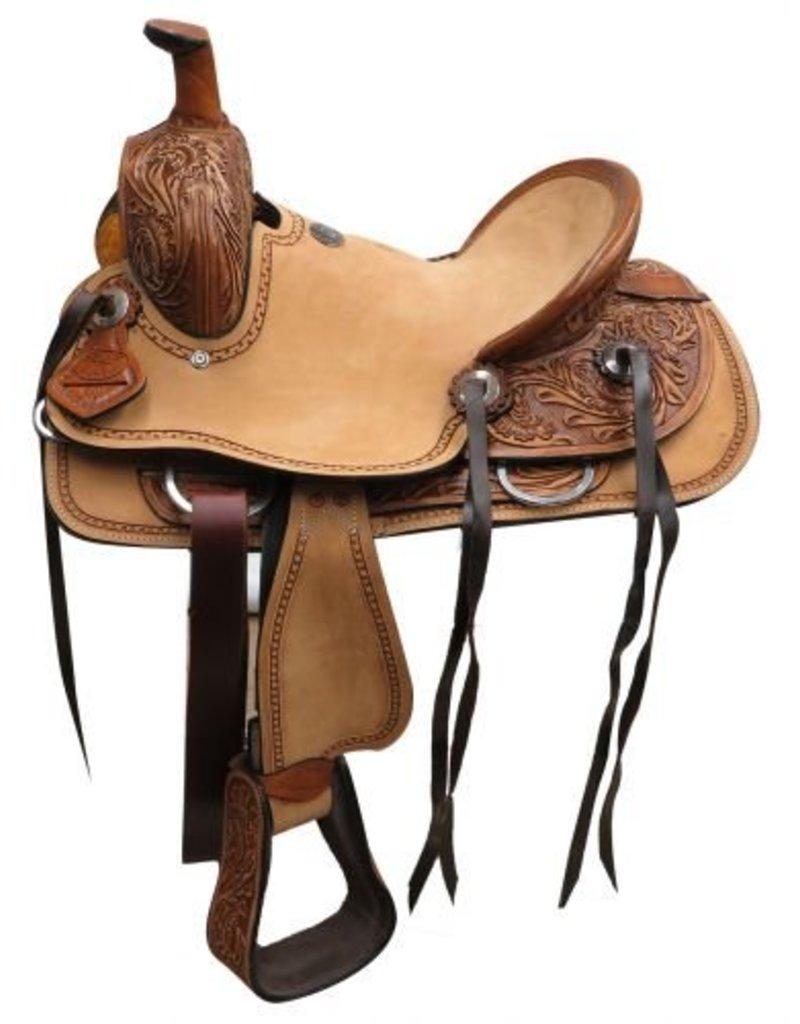 Double T  Youth hard seat roper style saddle.