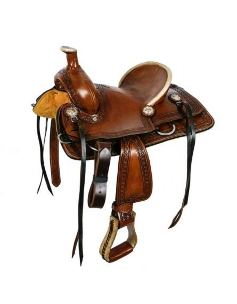 Double T  hard seat roper style saddle with aztec design tooling.