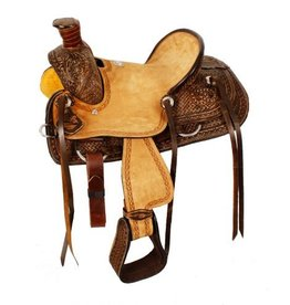 "Double T 12"" Youth hard seat roper style saddle with basket and floral tooled leather."