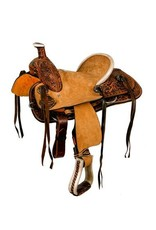 Double T hard seat roper style saddle with floral tooling.