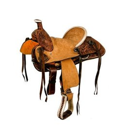"Double T 12"" hard seat roper style saddle with floral tooling."