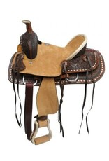 Double T Youth hard seat roper style saddle with basket and floral tooled leather.