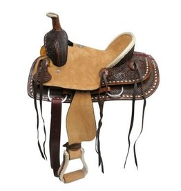 "Double T 12""Youth hard seat roper style saddle with basket and floral tooled leather."