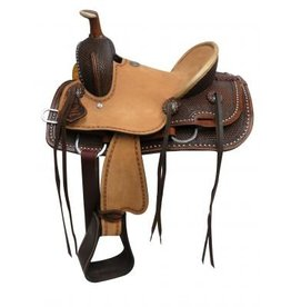 "Double T 12""  , 13""Youth hard seat roper style saddle with basket tooled leather."
