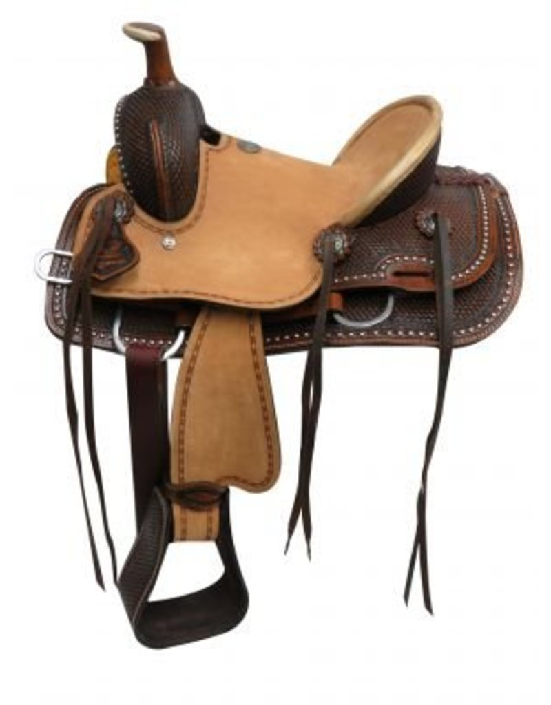 Double T Youth hard seat roper style saddle with basket tooled leather.