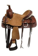 Double T Youth hard seat roper style saddle with floral tooled leather.