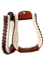 Showman ® Showman™  rawhide covered pleasure style western stirrups with leather lacing.