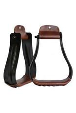 Showman ® Showman ® Black steel western stirrups with leather tread.