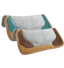 Showman ® Contoured felt bottom saddle pad with filigree print and Argentina cow leather trim.