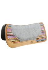 Showman ® Argentina cow leather saddle pad with Aztec print.