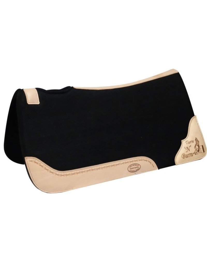 Showman ®  Black felt pad with branded branded Turn & Burn design.
