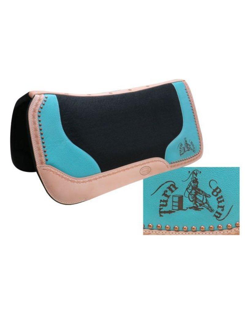 "Showman ® Black felt saddle pad with branded "" Turn 'N' Burn"" logo."