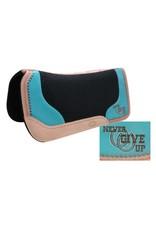 "Showman ® Black felt saddle pad with branded "" Never Give Up"" logo."
