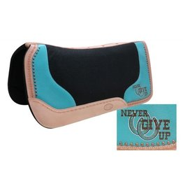 "Showman ® Black felt saddle pad with branded "" Never Give Up"" logo."