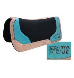 "Showman ® Black felt saddle pad with branded "" Kick the Dust Up"" logo."