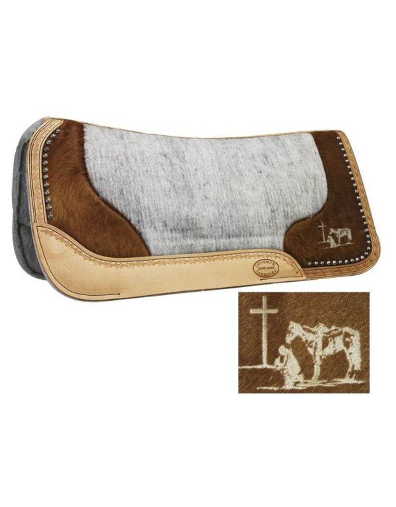 Showman ®  Felt Bottom Saddle Pad. Hand Tooled Hair on Argentina Cowhide With Laser Etched Pleasure Horse Praying Cowboy.