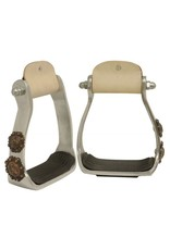 Showman ® Showman ® Light weight polished aluminum stirrups with copper engraved barrel racer conchos.