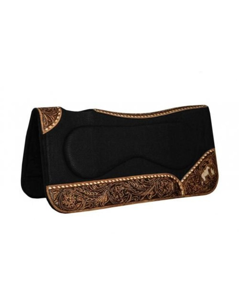 Showman ®  Black felt pad with built up sides and engraved praying cowboy on wear leathers.
