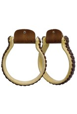 Showman ®  Showman ® Rawhide covered Oxbow stirrup with leather stitched sides.