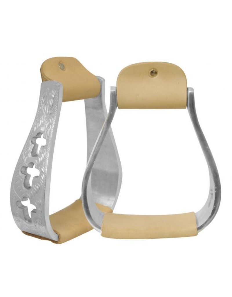 Showman ® Showman ® Light weight engraved polished aluminum stirrups with cut out cross design.