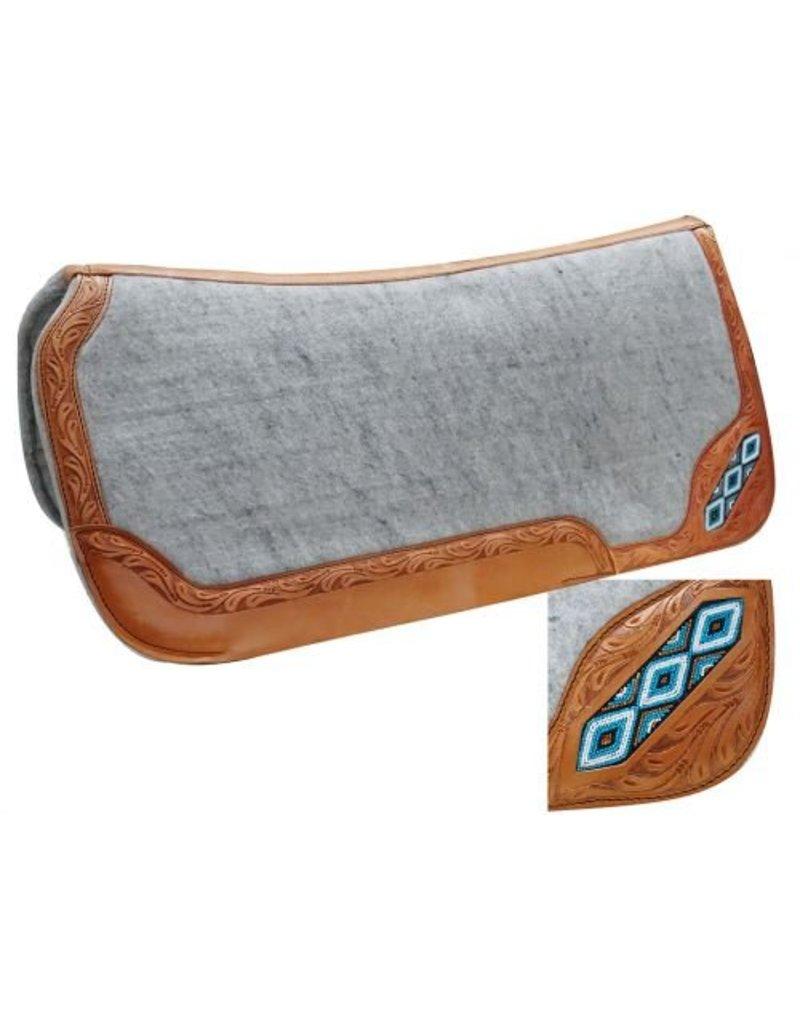 Showman ®  Contoured felt bottom saddle pad with beaded inlay.