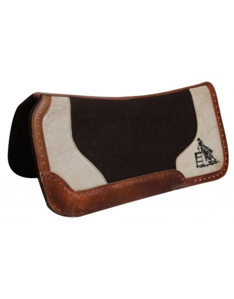Showman ® Dark brown felt pad with barrel racer embroidery.