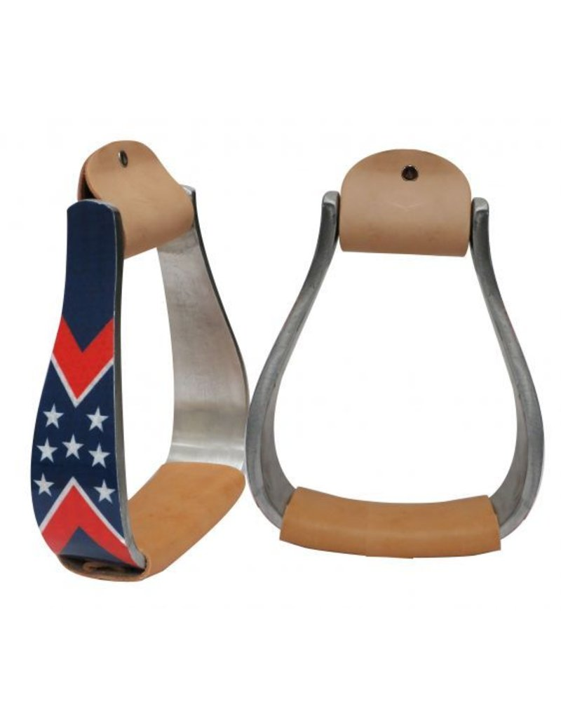 Showman ® Showman ® Aluminum stirrups with a reflective stars and stripes overlay design.