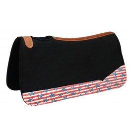 Showman ® black felt pad with stars and stripes print.