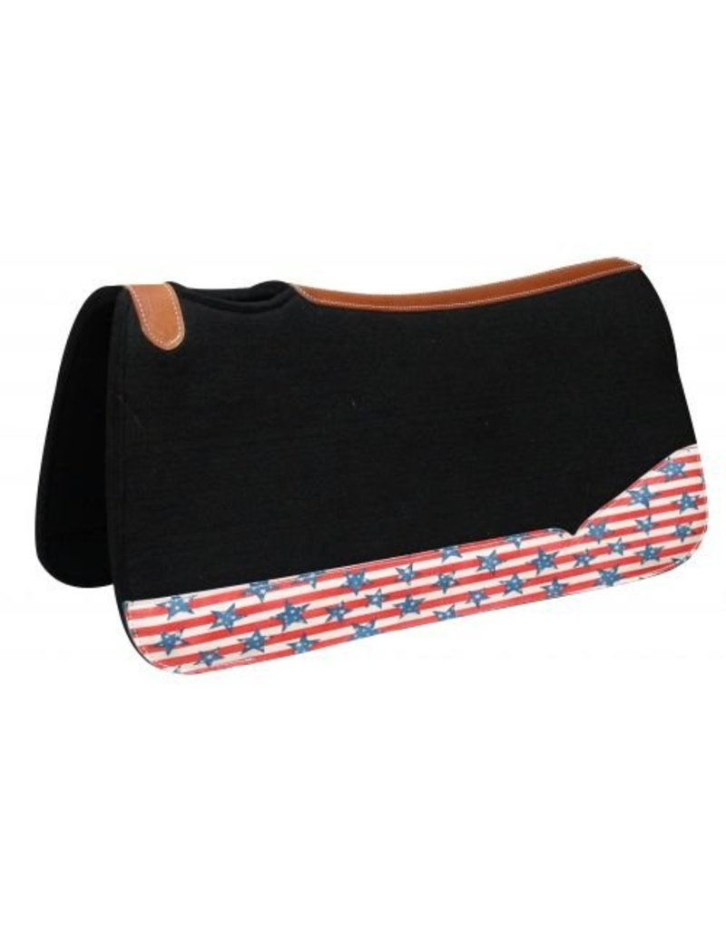 Showman ®  black felt pad with stars and stripes print.