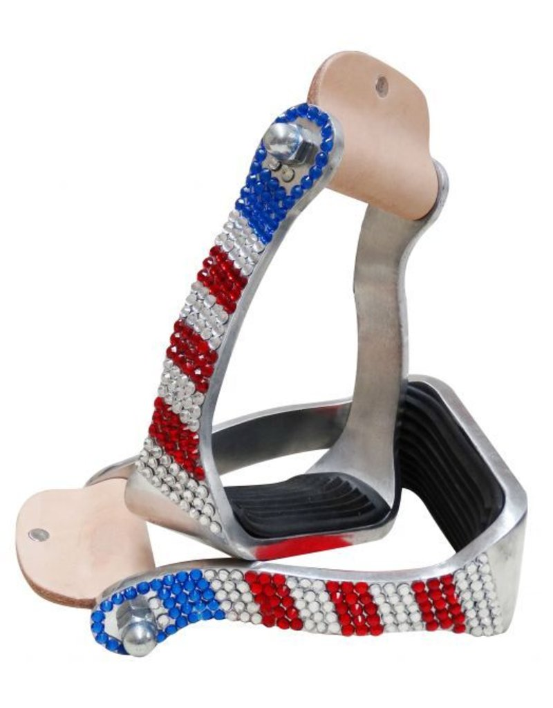 Showman ® Showman ® Red, White and Blue crystal rhinestone stirrups.