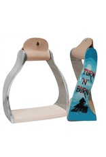 "Showman ® Showman ® Lightweight twisted angled aluminum stirrups with painted "" Turn 'N' Burn "" design."