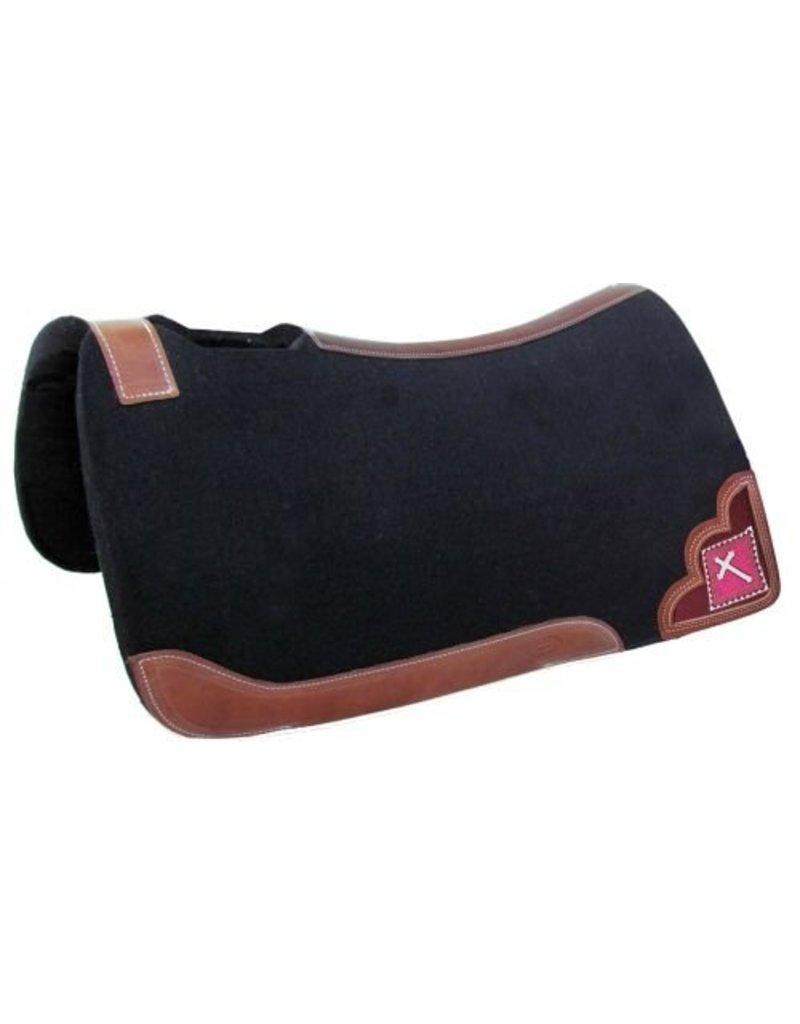 Showman ® felt pad with beaded cross inlay.