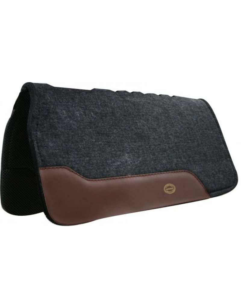 Showman ® saddle pad that prevents saddle roll with top grain wear leathers and lined with PVC backing.