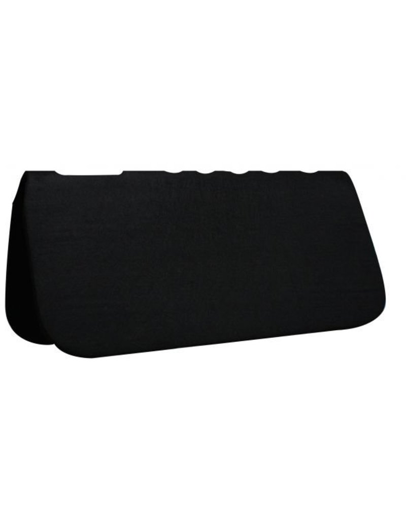 "Showman ®  Black felt on top and bottom with neoprene center, cutout over wither with fully vented back, it is approximately 1 ""thick,  this pad has no wear leathers."