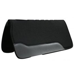 "Showman ® This pad is black felt on the top and bottom with a 3/4"" neoprene center, it has cut-out over wither, fully vented back and oversized wear leathers, it is approximately 1"" thick."