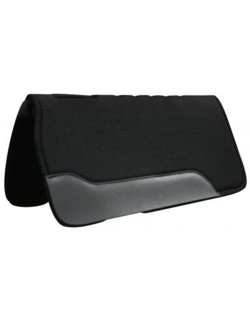 """Showman ® This pad is black felt on the top and bottom with a 3/4"""" neoprene center, it has cut-out over wither, fully vented back and oversized wear leathers, it is approximately 1"""" thick."""