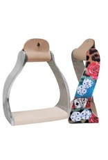"Showman ® Showman ® Lightweight twisted angled aluminum stirrups with shimmering "" Gambling Rose"" design."