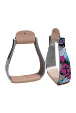 Showman ® Showman ® Shimmering cross & feather print stirrup.