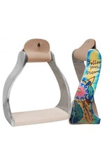 "Showman ® Showman ® Lightweight twisted angled aluminum stirrups with painted "" Follow your dreams "" design."