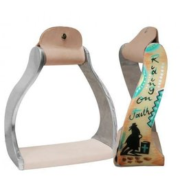 "Showman ® Showman ® Lightweight twisted angled aluminum stirrups with painted "" Riding on Faith "" design."