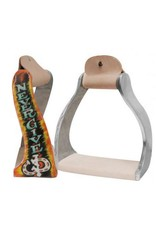 "Showman ® Showman ® Lightweight twisted angled aluminum stirrups with shimmering "" Never Give Up"" painted design."