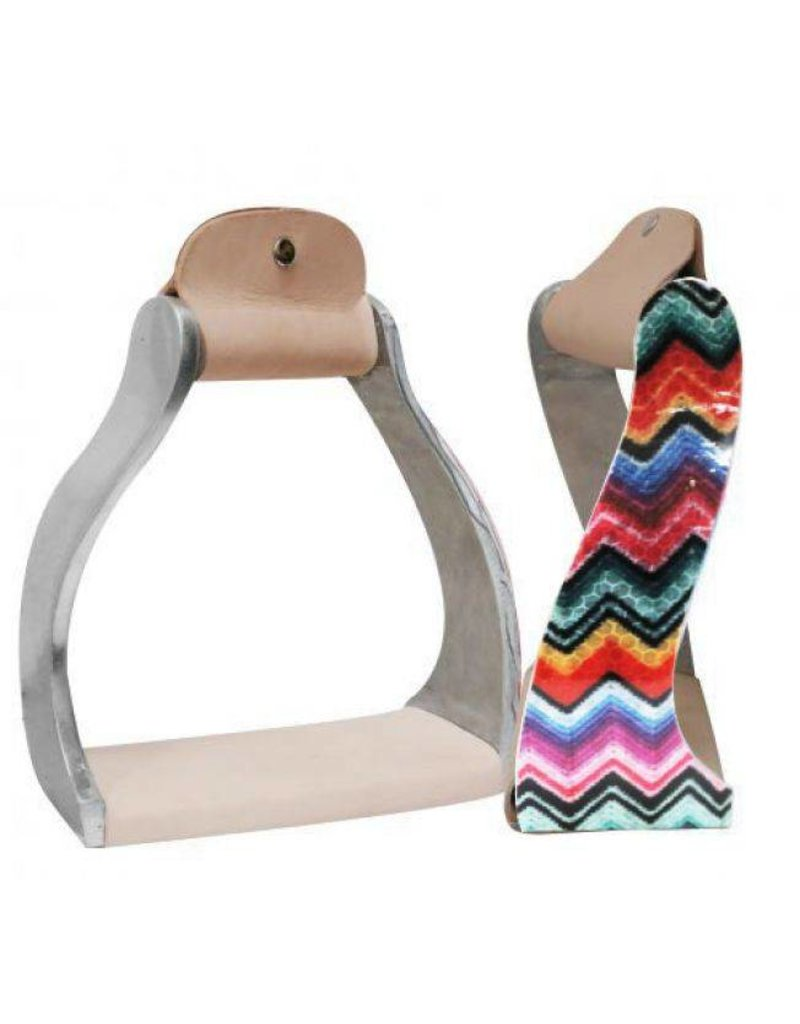 Showman ® Showman ® Lightweight twisted angled aluminum stirrups with shimmering chevron print.