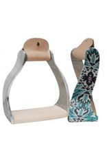 Showman ® Showman ® Lightweight twisted angled aluminum stirrups with shimmering teal Aztec print. Bottom of stirrups are wrapped in light leather.