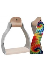 Showman ® Showman ® Lightweight twisted angled aluminum stirrups with shimmering tie dye print.