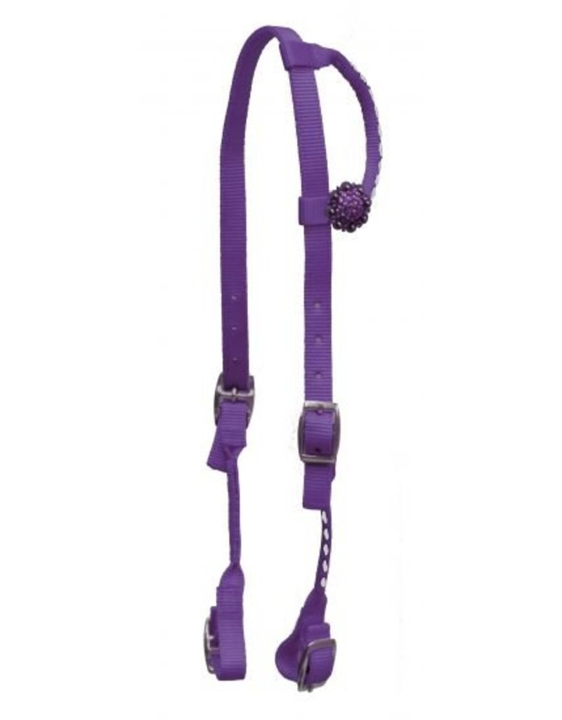 Showman ® Premium Nylon One Ear Headstall with stitching.