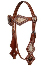 Showman ® double stitched leather silver beaded diamond shaped browband headstall with hair on cowhide.