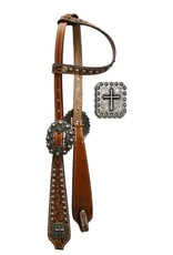 Showman ®  One Ear Headstall with Brown Filigree Print.