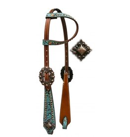One Ear Headstall with Teal and Brown Filigree Print.