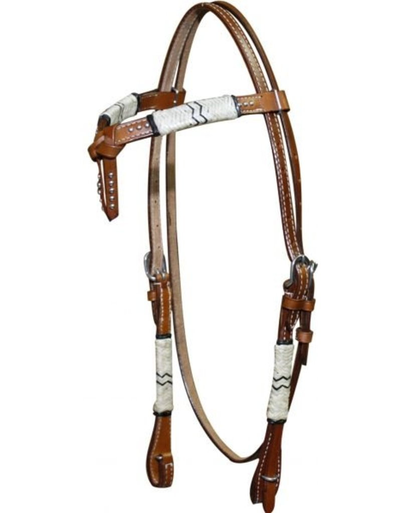 Showman ® Double stitched leather futurity knot headstall with rawhide braiding.