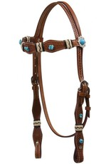 Showman ® Turquoise Stone Beaded Headstall with Rawhide Accents.